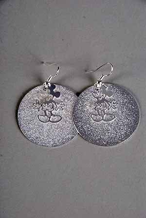 Earrings Circle Gold Leaf W Mouse Charm 1.5''x1.5'' Silver Only