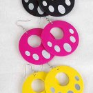"Earrings Circle W Dots2''x2"",Color Asst/DZ 6 Color Asst"