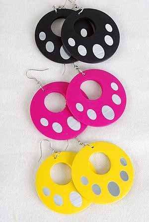 """Earrings Circle W Dots2''x2"""",Color Asst/DZ 6 Color Asst"""
