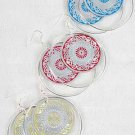 Earrings Circle W Foil Print/DZ 6 Color Asst