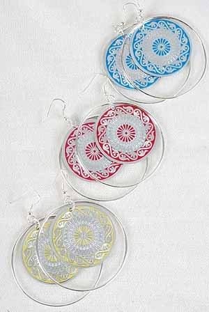 Earrings Circle W Foil Print/DZ 6 Color Asst