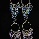 Earrings Circle With Beads/Dz **NEW** Color asst