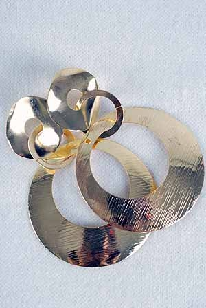 Earrings Circle With Brush Gold Finish/DZ **POST**Gold