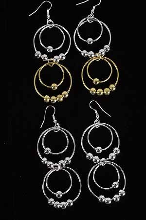 Earrings Circle With CC Beads L-2.75''/DZ ** New Arrival** L-2.75'' Choose 2 tone or silver