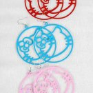 Earrings Circle With Color Kitty 6cm color asst/DZ 6 Color Asst