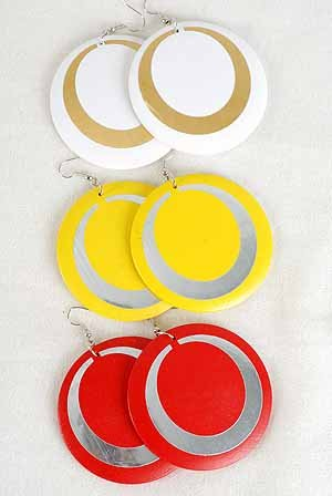"Earrings Circle With Foil Finish 2.5""Color Asst/DZ **NEW** 6 Color Asst"