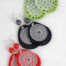 Earrings Color Acrylic Teardrop Shape W Circles /DZ 6 Color Asst