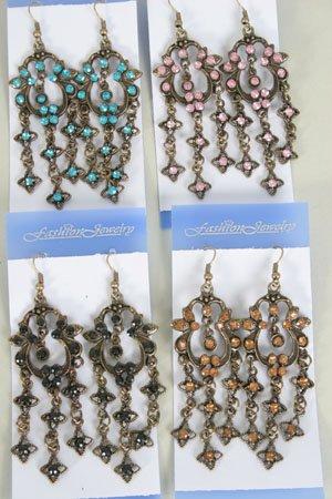 Earrings Color Stone Victorian Look/DZ **NEW** Post, Color assr - 50dz/cs