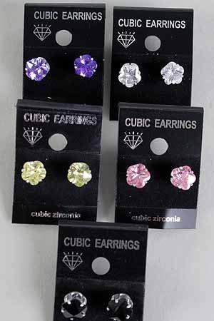 Earrings CZ Cubic 8mm Flower Cut Color Asst /DZ ** New Arrival** 8mm Cubic Zirconium 6 Color Asst