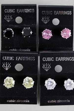 Earrings CZ Cubic 8mm Round Shape Color Asst/DZ **New Arrival** 8mm Cubic Zirconium 6 Color Asst