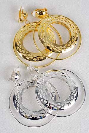 "Earrings Dangle W Filigree Circles Clip On 2.5""x2.5""/DZ **CLIP ON**6cm Gold Or Silver"