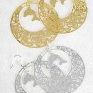 Earrings Filigree Circle W Dolphin 2.5''x2.5''/DZ ** New Arrival** choose Gold or Silver Finish