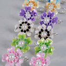 Earrings Flower Epoxy W Pearl/Dz ** New Arrival** Color Asst