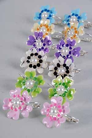 Earrings Flower Epoxy W Pearl/Dz ** New Arrival** Color Asst