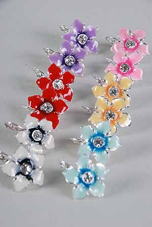 Earrings Flower Epoxy W Rhinestone Color Asst/DZ ** New Arrival** Color Asst,French Post