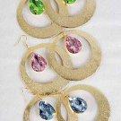 "Earrings Gold Circle Dange W Acrylic Stones/DZ 6 Color Asst,2.5"" Wide"