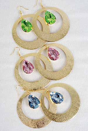 "Earrings Gold Circle Dange W Acrylic Stones/DZ 6 Color Asst,2.5"" Wide"