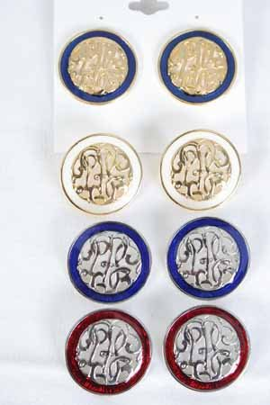 Earrings Initial Round Epoxy Post/DZ ** Special Promation,Choose Colors