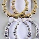 Earrings Jumbo Bamboo Pincatch,3.5''x3.5''/DZ Choose Silver Or Gold