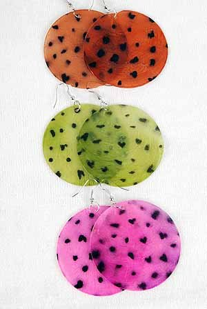 Earrings Jumbo Shell With Dots2.5''/DZ ** New Arrival** Pink Red Brown Green White Blue 6 Color Asst