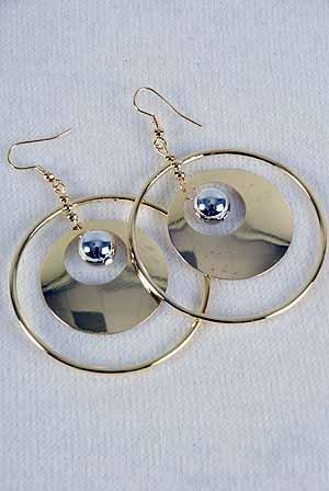 Earrings Large 2-tone Circle W Round Disk/DZ 2-tone finish