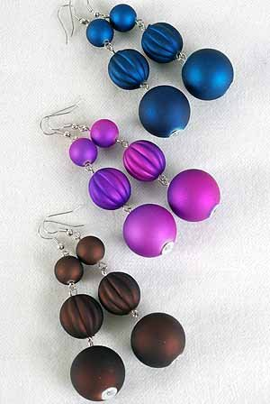 Earrings Large Ball Matte Dangle Color Asst/DZ **NEW** 6 Color Asst