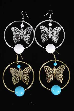 Earrings Large Butterfly W 20mm Solid Balls/DZ **New Arrival** Choose Gold or Silverr Finish