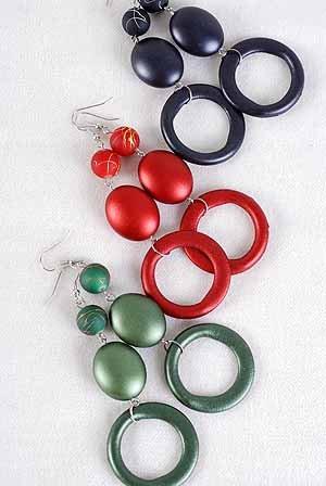 Earrings Large Circle Matte Dangle,Color Asst/DZ **NEW** 6 Color Asst
