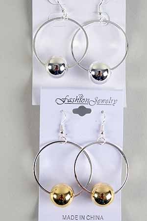 Earrings Large Circle W 18mm CC Bead/DZ ** New Arrival** Choose 2tone or Silver