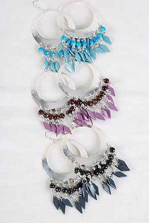 Earrings large Circle W Color Charms/DZ ** New Arrival** 6 Color Asst