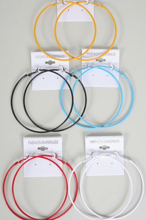 Earrings Large Color Hoop,Asst Colors/DZ