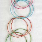 Earrings Large Hoop AB Silky 7cm Color Mix/DZ 7cm,6 Color Asst