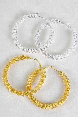 Earrings Large Hoop W Mesh Wires 2.5''x2.5''/DZ ** New Arrival** Choose Gold or Silver