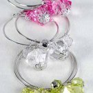 Earrings Large Hoop With Crystal Blocks 2.25''/DZ 6 Color asst