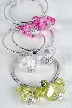 Earrings Large Hoop With Crystal Blocks 2.25''/DZ 6 Color asst