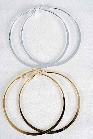 Earrings Large Metal Hoop Flat 3'' Wide/DZ ** New arrival** Choose Gold or Silver Finish