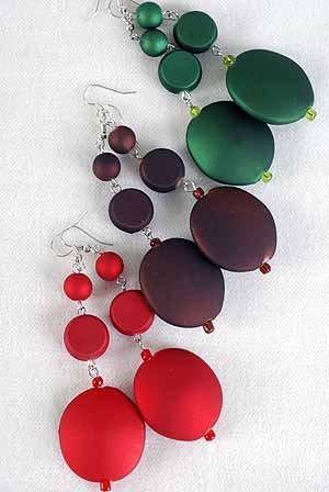 Earrings Large Oval Matte Dangle Color Asst/DZ **NEW** 6 l Color Asst