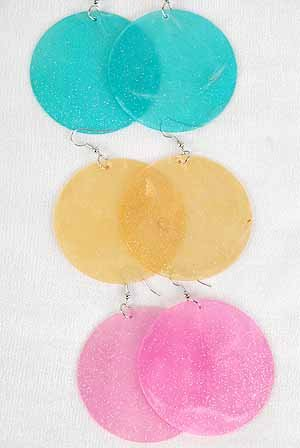 Earrings Large Paper Shell W Glitters 2.5'' Wide/DZ ** New Arrival** 6 Color Asst,Size 2.5''x2.5''