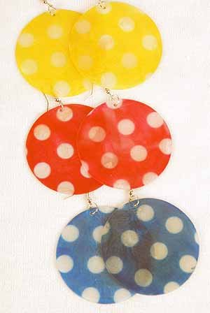 Earrings Large Paper Shell W Polkadot 2.5''x2.5''/DZ ** New Arrival** 6 Color Asst