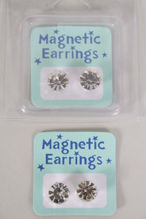 Earrings Magnetic Clear Rhinestone/dz choose size 9mm or10mm Clear stone or AB Clear
