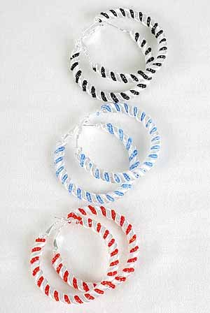 Earrings Mesh Wire W Color Beads Silver Finish 2.5''/DZ ** New Arrival** 6 Color Asst