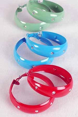 """Earrings Metal Hoop Epoxy W Clear Rhinestones/DZ 2""""x2''W, 6 Color Asst"""