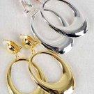 "Earrings Metal Oval Shape Clip On 2.5"" Long/DZ **Clip On** Choose Gold Or Silver"