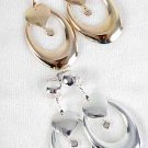 Earrings Metal Oval W Hearts Clip On/DZ **CLIP ON**Choose Gold Or Silver