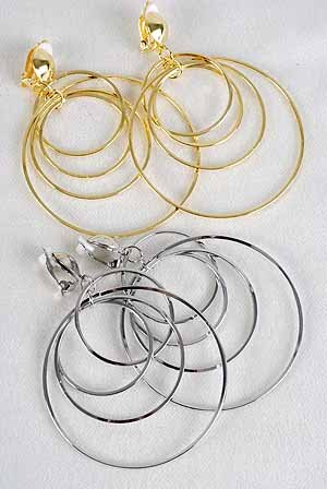 """Earrings Metal Round Dangles 2.5""""x3"""" Clip On/DZ **CLIP ON** Choose Gold or Silver Finish"""