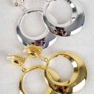 "Earrings Metal Round Shape Clip On1.5""x 2.5"" Long/DZ **Clip On** Choose Gold Or Silver"