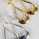"Earrings Metal Teardrop Dangle Clip On 2.25"" Long/DZ **Clip On** Choose Gold Or Silver"