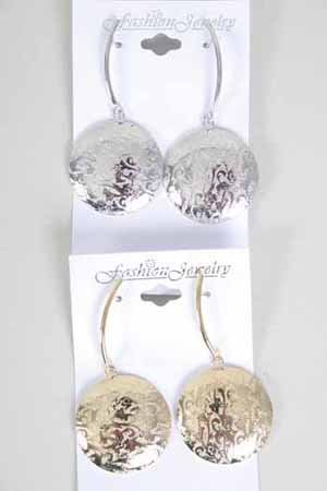 Earrings Metal W Round Disk/DZ ** New Arrival** Choose colors
