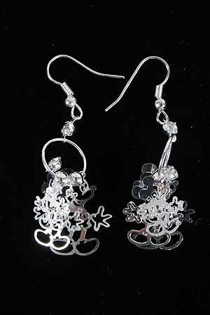 Earrings Micky 3D W Clear Rhinrstones/DZ **NEW**