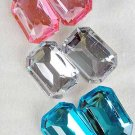 Earrings Oblong Shape W Acrylic Stones Clip On/DZ **CLIP ON**6 Color Asst